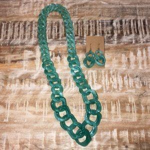 Jewelry - Seafoam Green Jewelry Set Earrings Necklace
